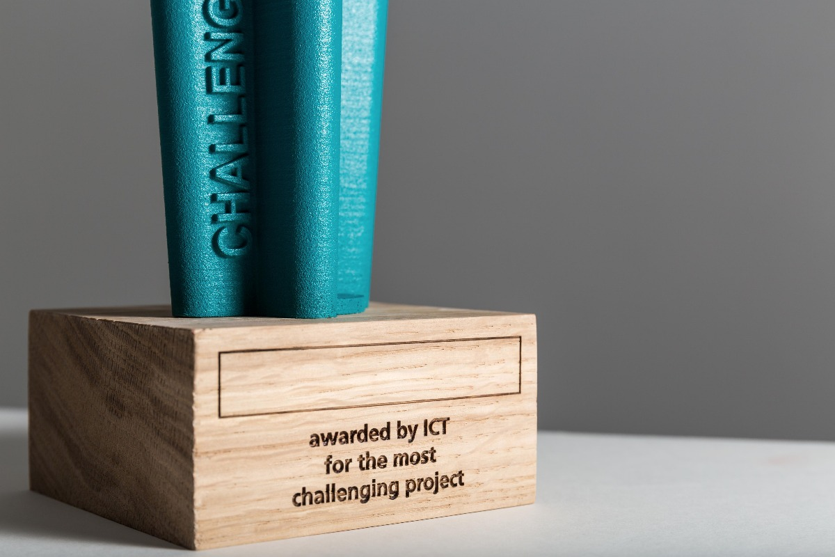 ICT challenge award detail wooden base