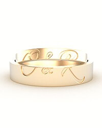 Wedding Bands Gold Double Initials His Hers